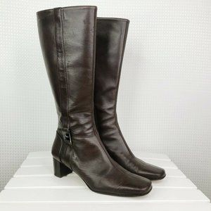 Ferragamo Boots Womens Brown Leather Tall Knee 6.5